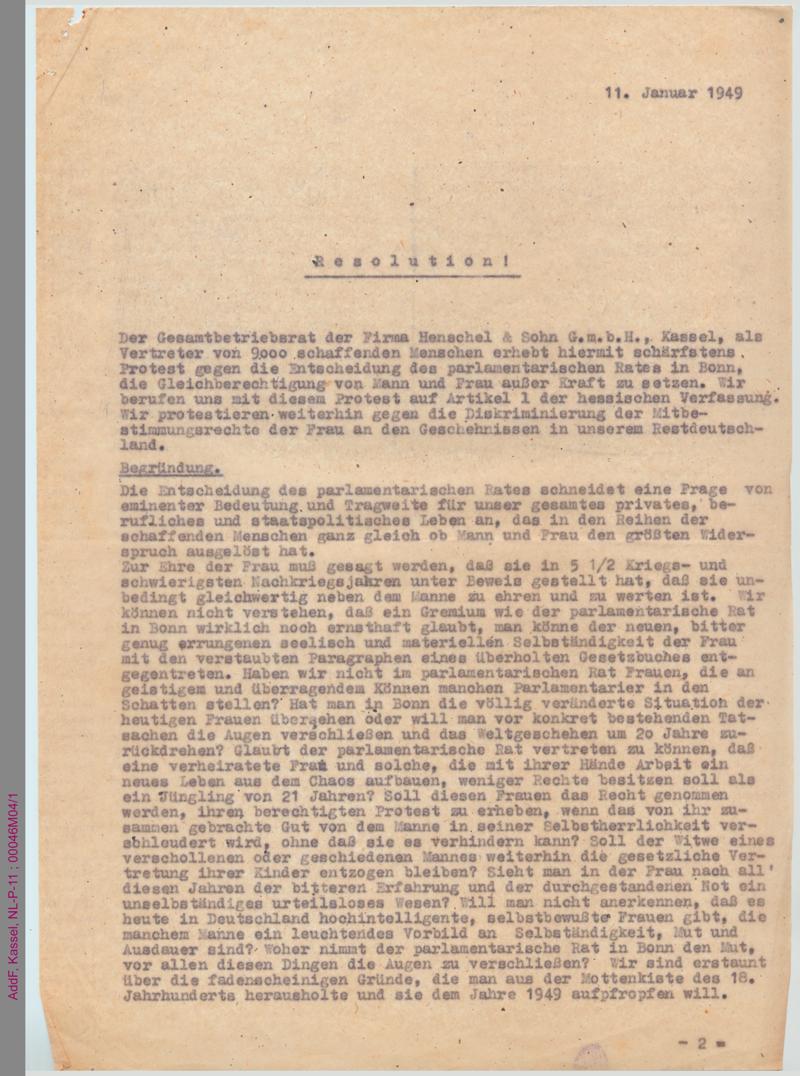 Resolution der Firma Henschel & Sohn GmbH betreff Grundgesetz, Art. 3.2.