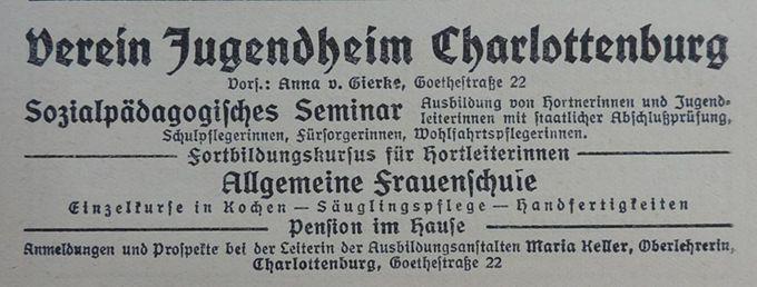 Verein Jugendheim Charlottenburg - Anzeige
