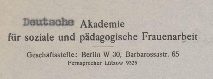 Briefkopf : Briefkopf der Deutschen Akademie für soziale und pädagogische Frauenarbeit