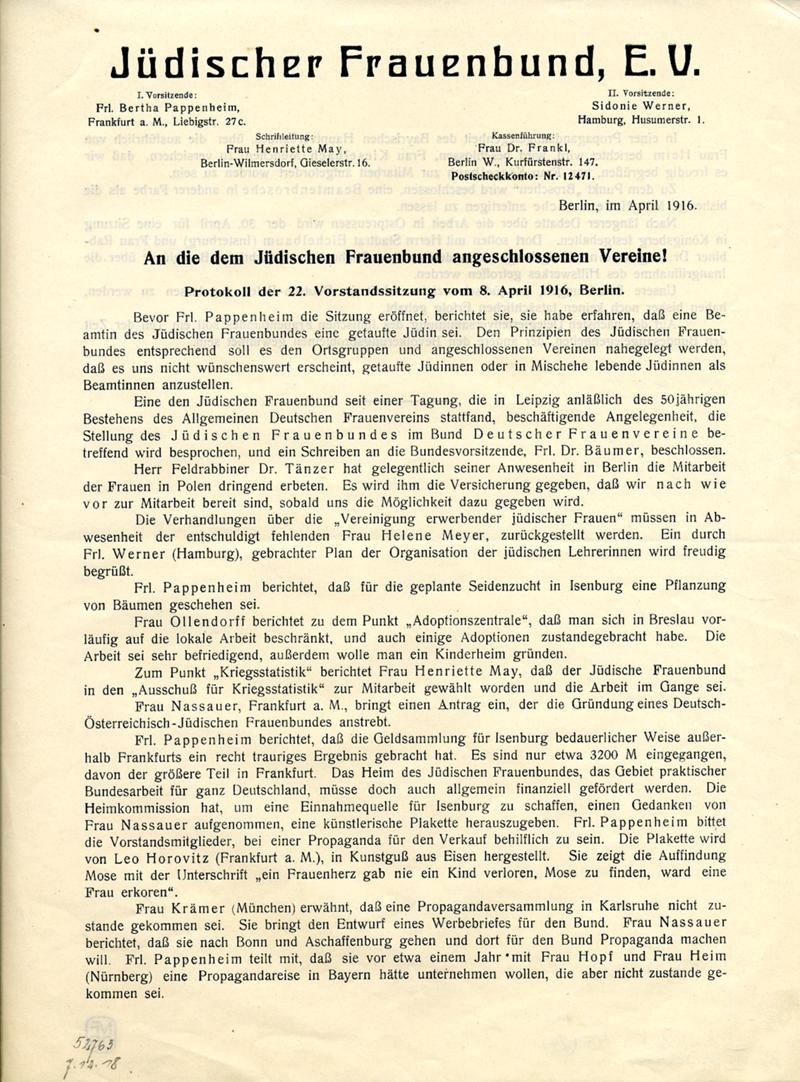 Flugblatt des jüdischen Frauenbund e.V.