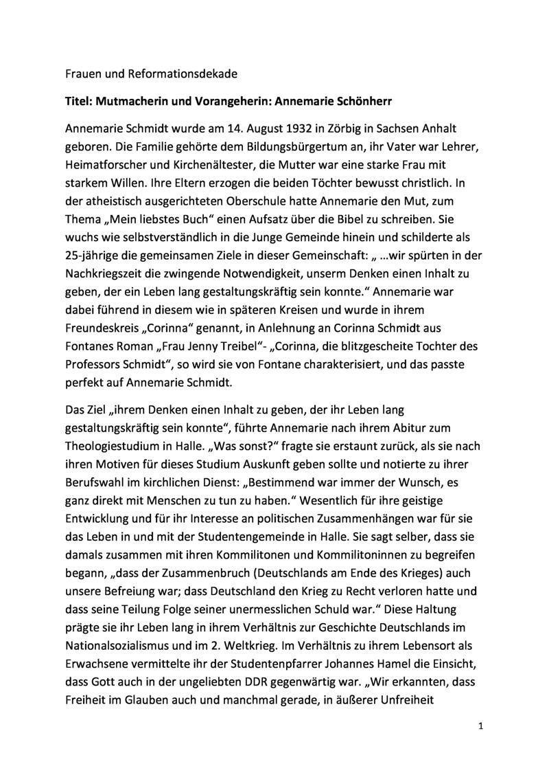 Mutmacherin und Vorangeherin: Annemarie Schönherr, MS zur Frauen und Reformationsdekade