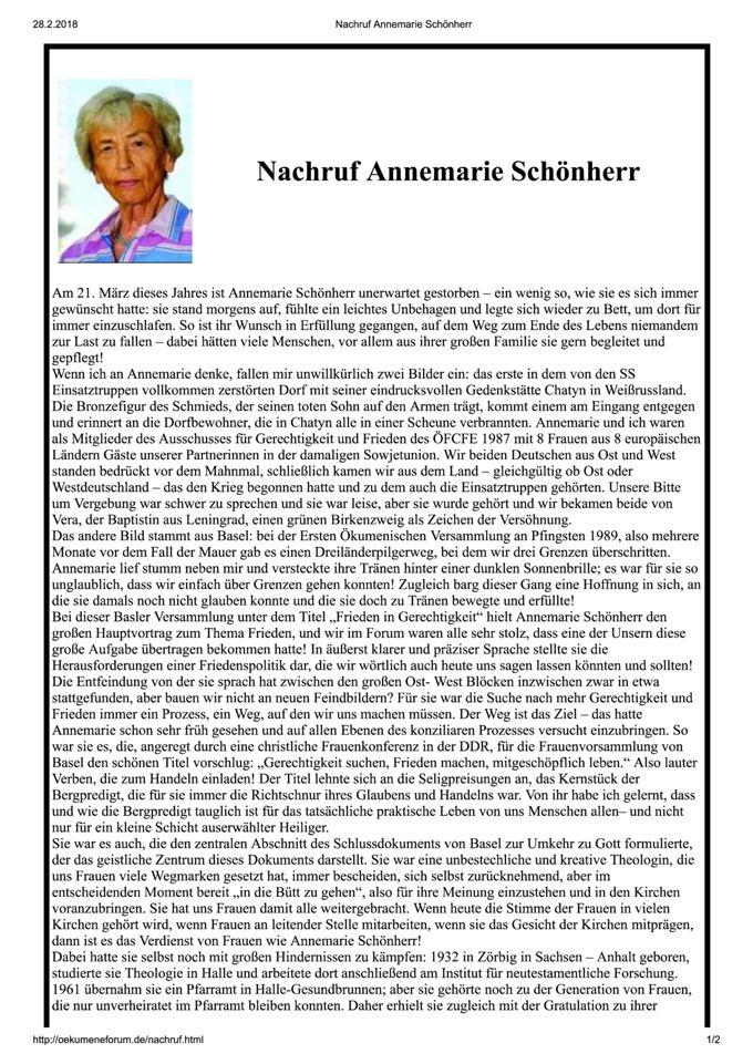 Nachruf Annemarie Schönherr