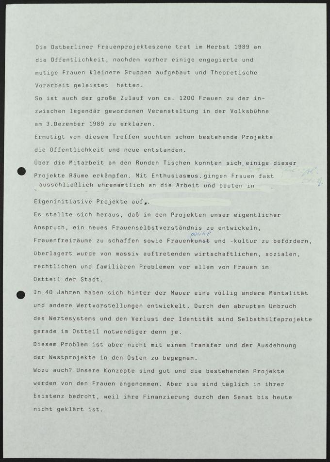 Statement und Forderungen der Ostberliner Frauenprojekte, verlesen am 17. April 1991 im Rathaus Schöneberg