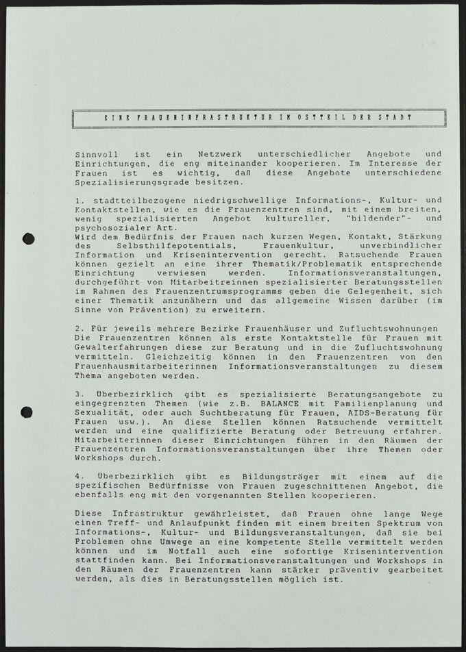 """Flugblatt für den Erhalt einer """"Fraueninfrastruktur im Ostteil der Stadt"""", 26. Januar 1993"""
