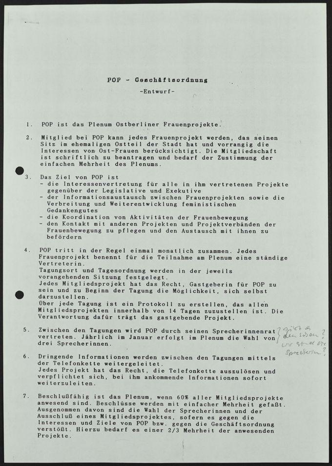 Entwurf einer POP-Geschäftsordnung, 1993