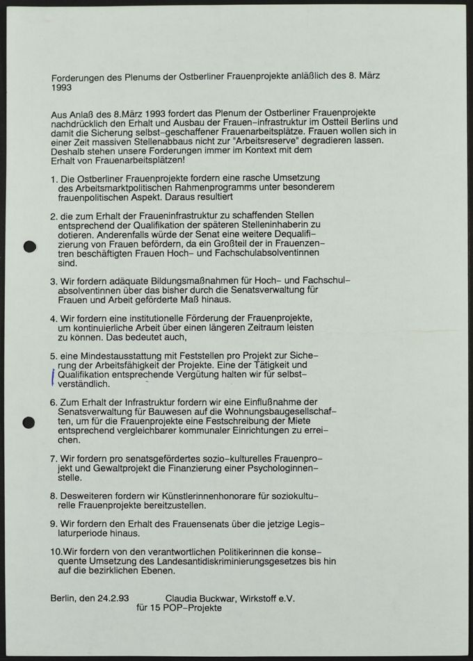 """Flugblatt """"Forderungen des Plenums Ostberliner Frauenprojekte anläßlich des 8. März 1993"""""""