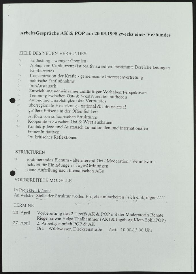Protokoll von POP und AK zwecks eines Verbundes beider Gruppen, 20. März 1998
