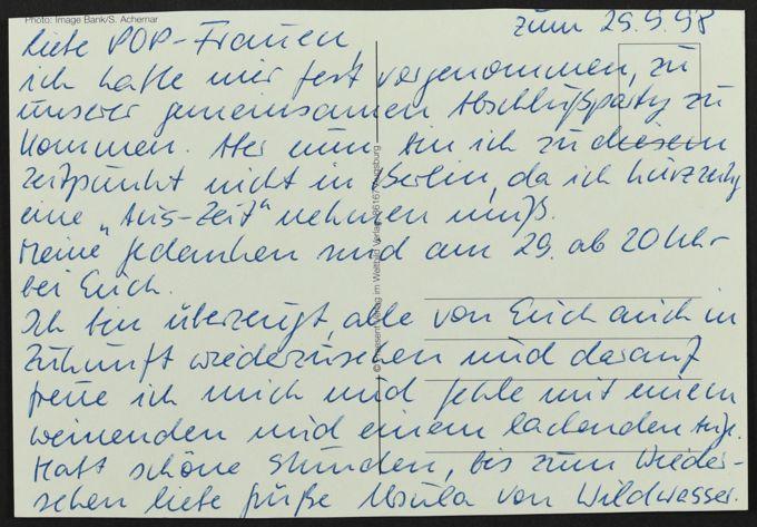 Postkarte vom Wildwasser e.V. zur POP-Abschlussparty, 29. September 1998