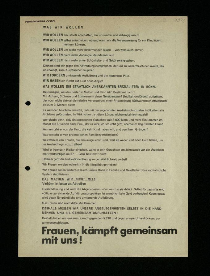 Flugblatt Demonstrationsaufruf