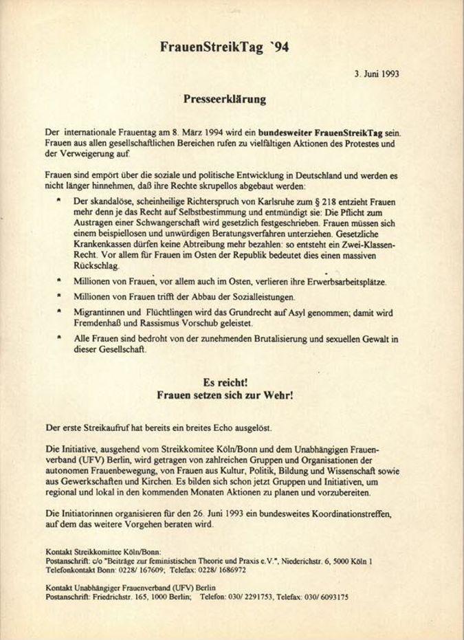 FrauenStreikTag '94 : Presseerklärung