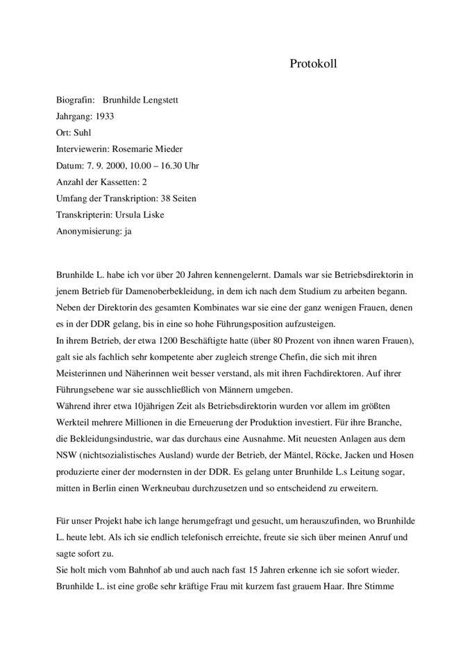 Protokoll zum Interview mit Brunhilde Lengstett / Seite 1