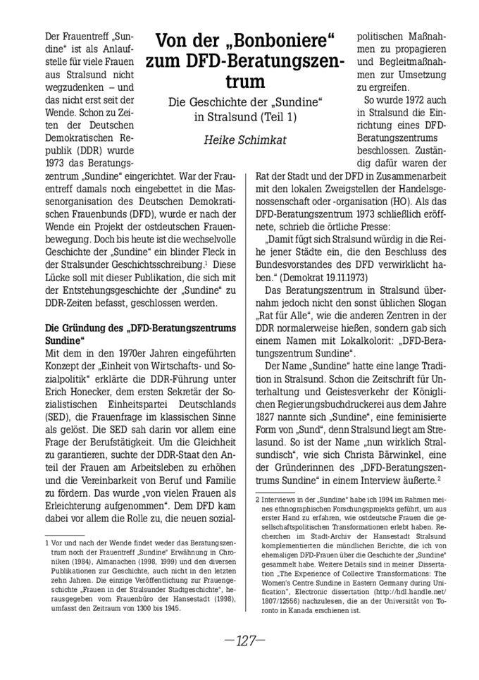 """Von der """"Bonboniere"""" zum DFD-Beratungszentrum : Geschichte der """"Sundine"""" in Stralsund ; Teil 1 / Seite 1"""