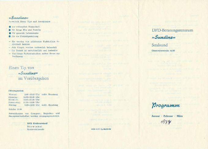 Programm Januar, Februar, März 1974 / Seite 1