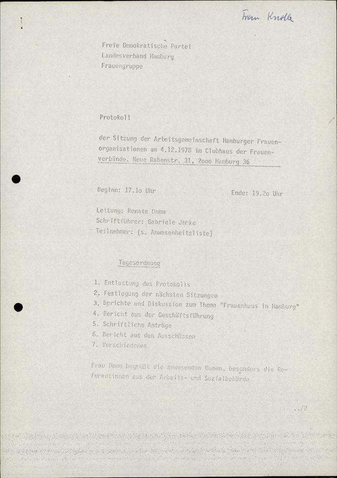AHF MV Protokoll 4.12.1978 / Seite 1