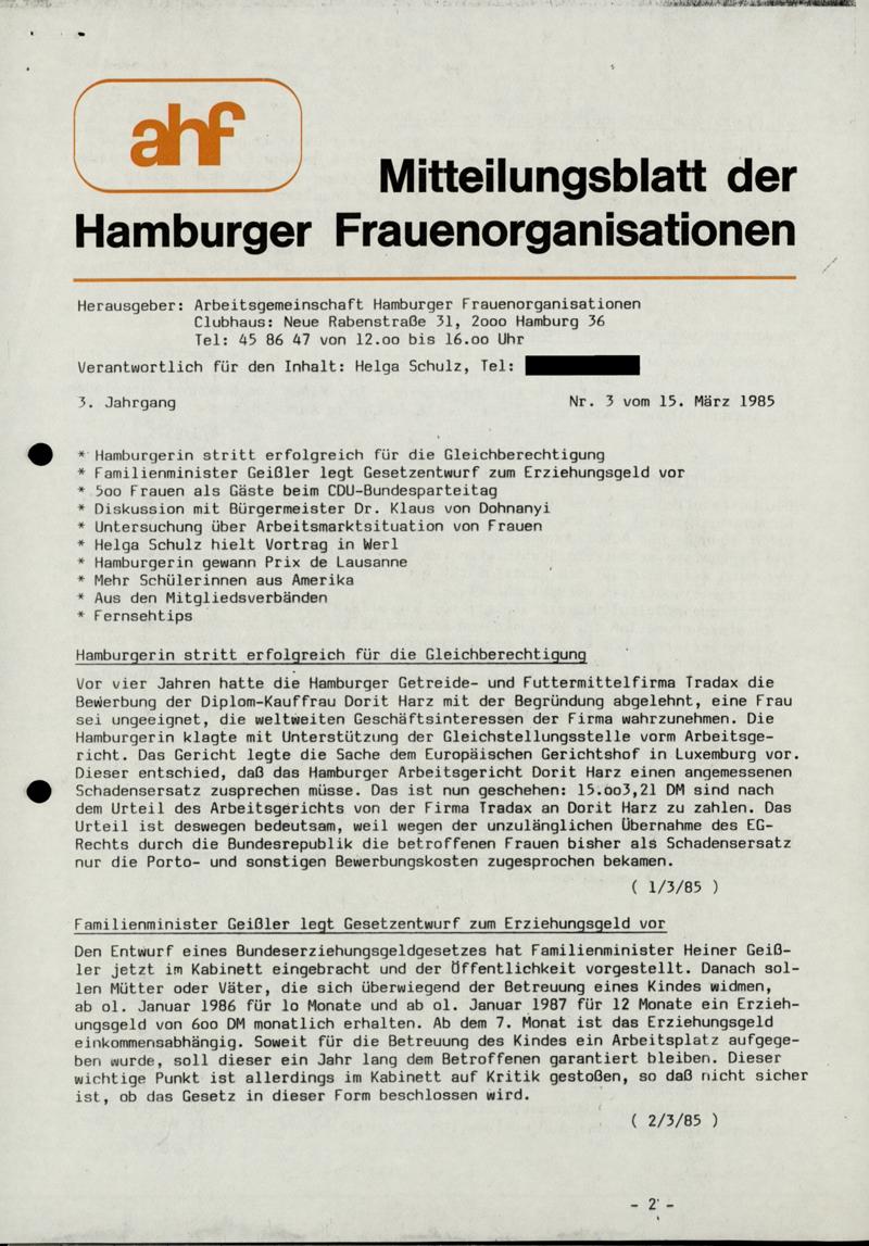 Mitteilungsblatt der Hamburger Frauenorganisation