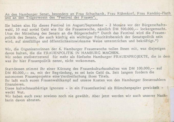 Hamburger Frauenwoche, 10. - 15. März 1986