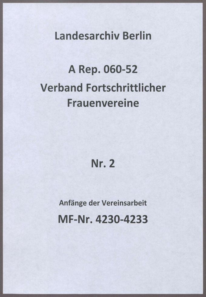 Anfänge der Vereinsarbeit / Seite 1