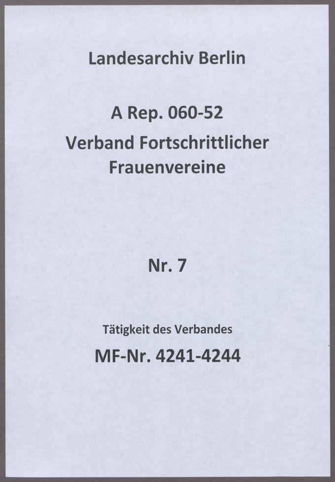Tätigkeit des Verbandes / Seite 1