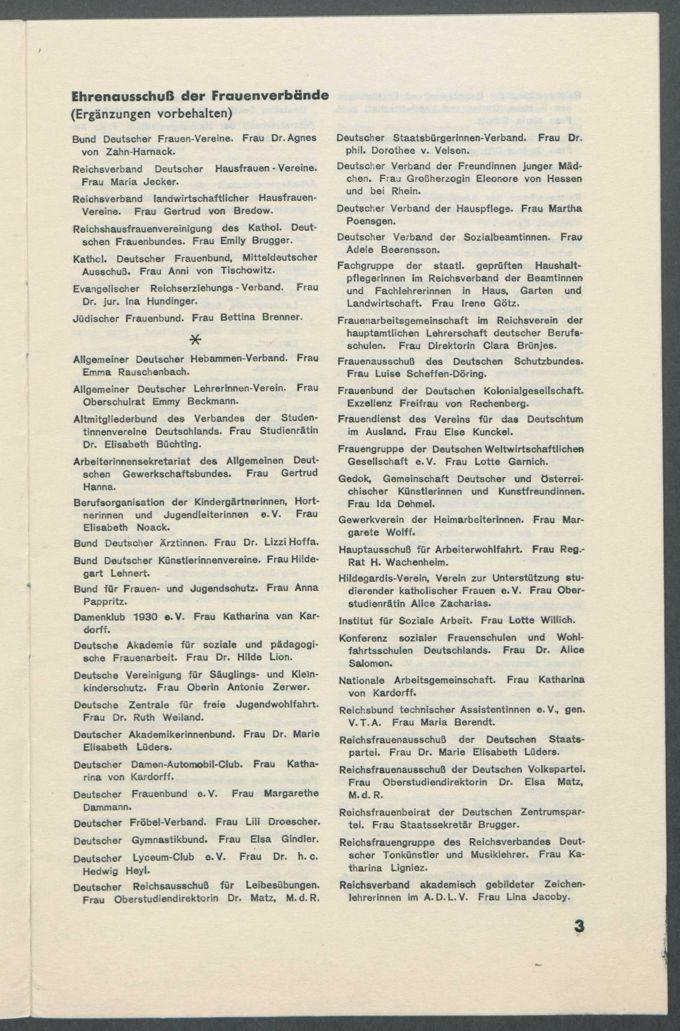 """Anschreiben, Korrespondenzen, Zeitungsartikel, Kataloge und Programmhefte zur Ausstellung """"Die Frau"""" in Berlin 1933 (Ausstellung für Frauenleben und -wirken in Familie, Haus und Beruf)  / Seite 34"""