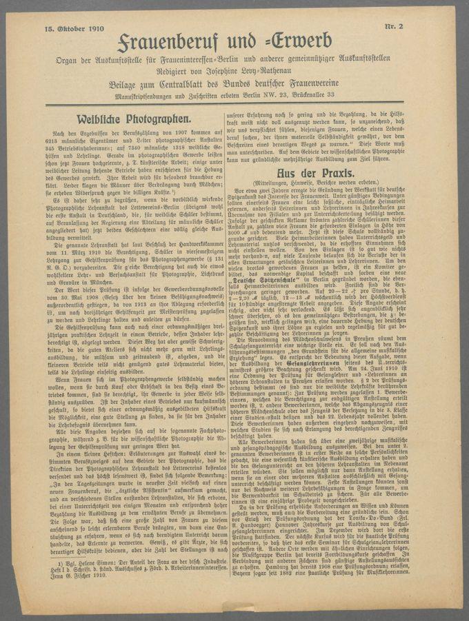 """Exemplare der Zeitschrift """"Frauenberuf und -Erwerb"""" / Seite 3"""