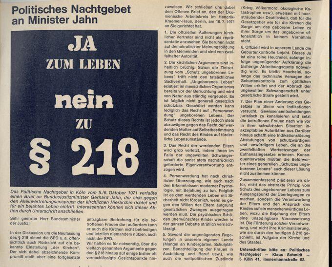 Brief an Bundesminister Jahn als Aktion des Politischen Nachtgebetes vom 5. und 6. Oktober 1971 ; Motto: Ja zum Leben, nein zu § 218