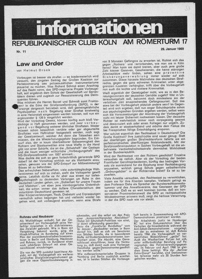 """Hinweis auf eine Veranstaltung mit der Journalistin Ulrike Marie Meinhof im Republikanischen Club Köln in der Zeitschrift """"informationen. RCK, Nr. 11 vom 29.1.1969. Thema ihres Vortrags: """"Die Ausbeutung der Frauen in unserer Gesellschaft"""""""