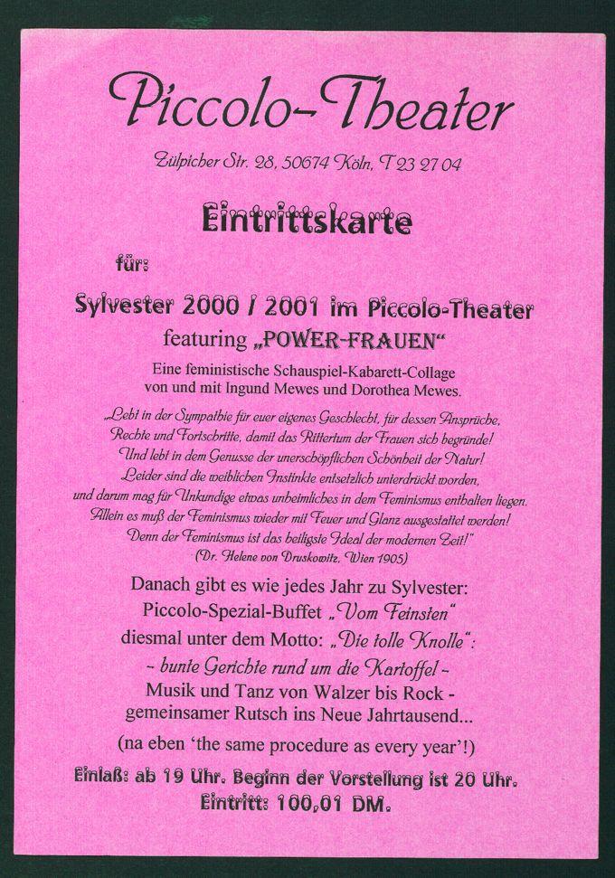 Eintrittskarte zur Silvesterfeier des Frauentheater Piccolo in Köln am 31.12.2000