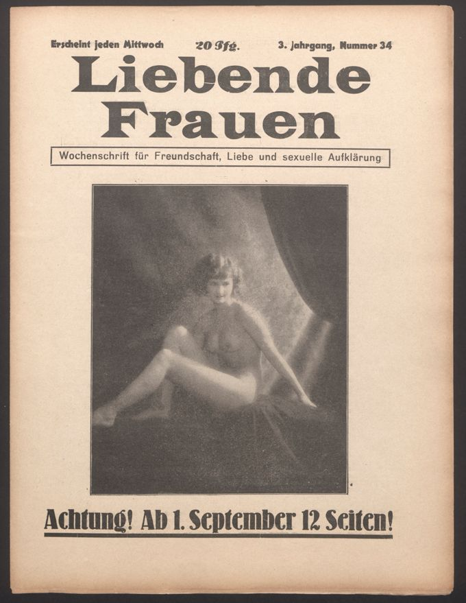 Liebende Frauen : Wochenschrift für Freundschaft, Liebe und sexuelle Aufklärung 3(1928)34 / Seite 1