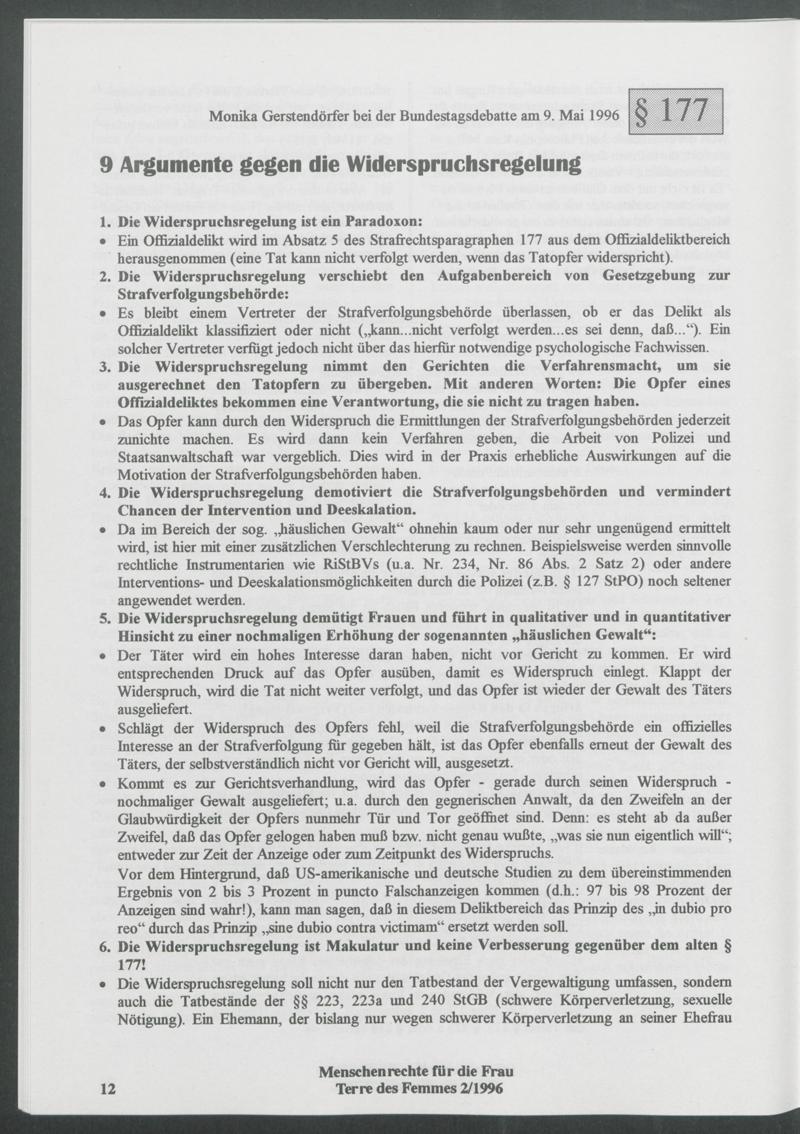 9 Argumente gegen die Widerspruchsregelung : Monika Gerstendörfer bei der Bundestagsdebatte am 9. Mai 1996 zu Paragraph § 177